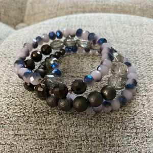 Jewelry - Purple/Gray Beaded Wrap Bracelet